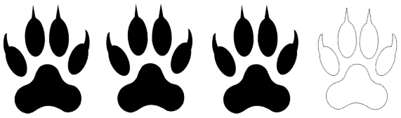 Trois pattes noires indiquant un niveau techniques adapté aux personnes avec expérience de la randonnée en montagne.