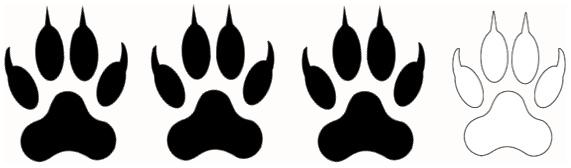 Trois pattes noires indiquant un niveau physique adapté aux personnes en forme.